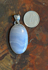 Blue Lace Agate Pendant H Sterling Silver