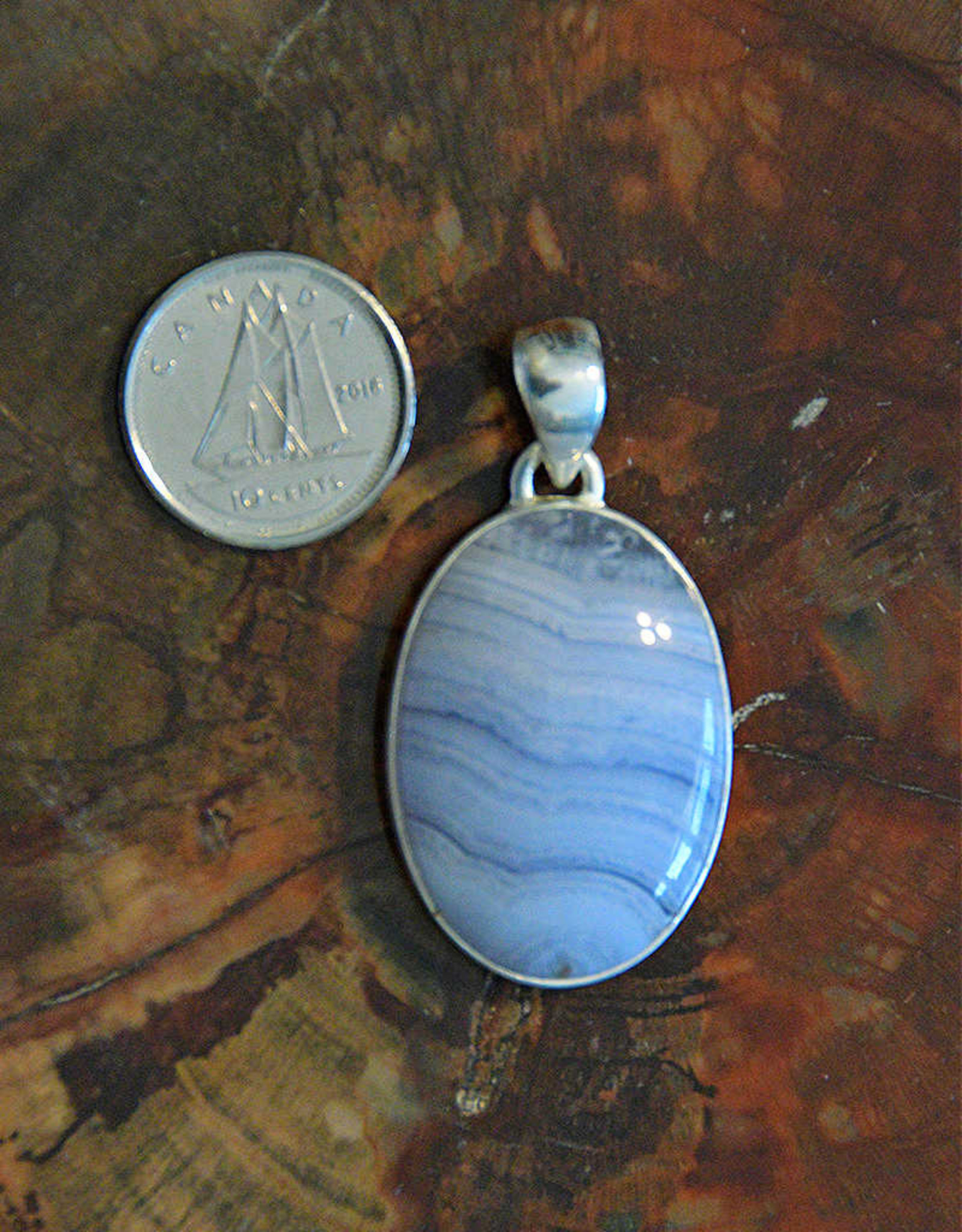 Blue Lace Agate Pendant F Sterling Silver