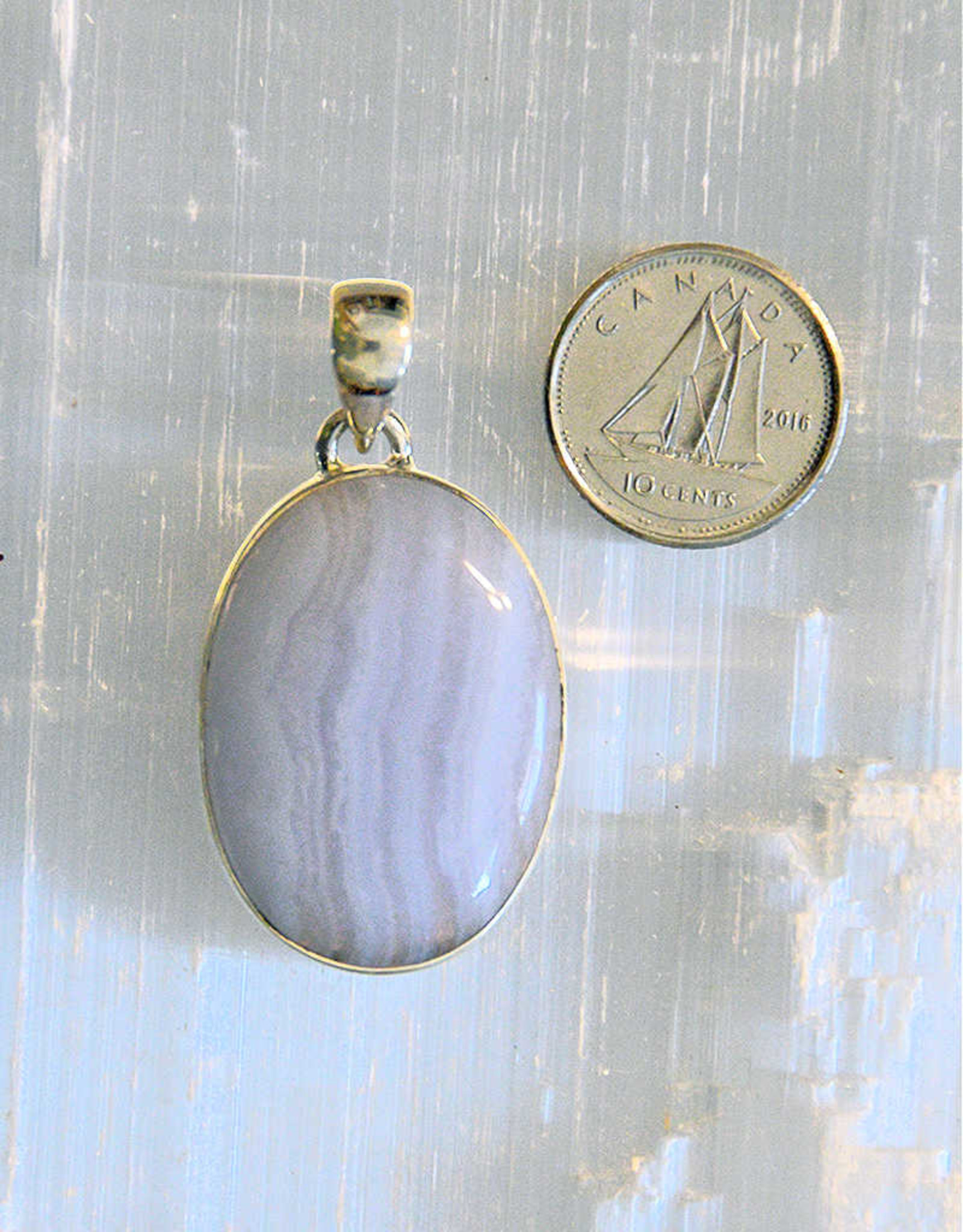Blue Lace Agate Pendant E Sterling Silver