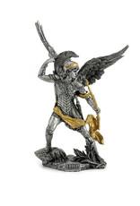 Wise Unicorn Archangel Uriel Statue - Pewter & Gold