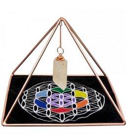 "Copper Pyramid w Clear Quartz Point & Flower of Life Mat - 6""x 4.5"""