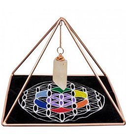 Energizing Copper Pyramid with Quartz & Flower of Life Grid