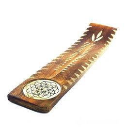 Flower of Life Wooden Etched Incense Burner