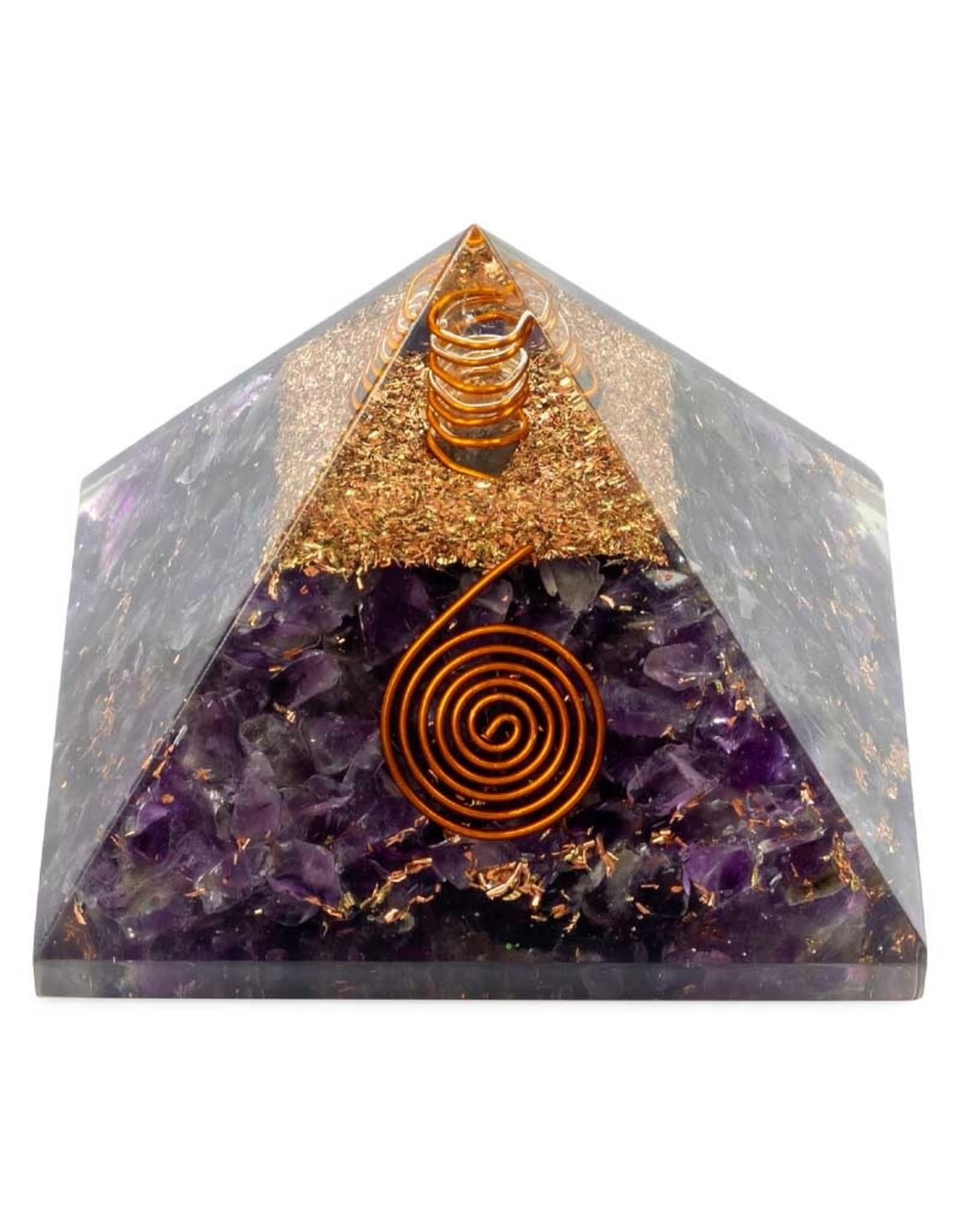"""Amethyst Orgonite Pyramid with Copper 2.5"""" x 2.5"""" x 2"""""""