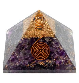 """Amethyst Orgonite Pyramid w Copper -  2.5"""" x 2.5"""" x 2"""""""