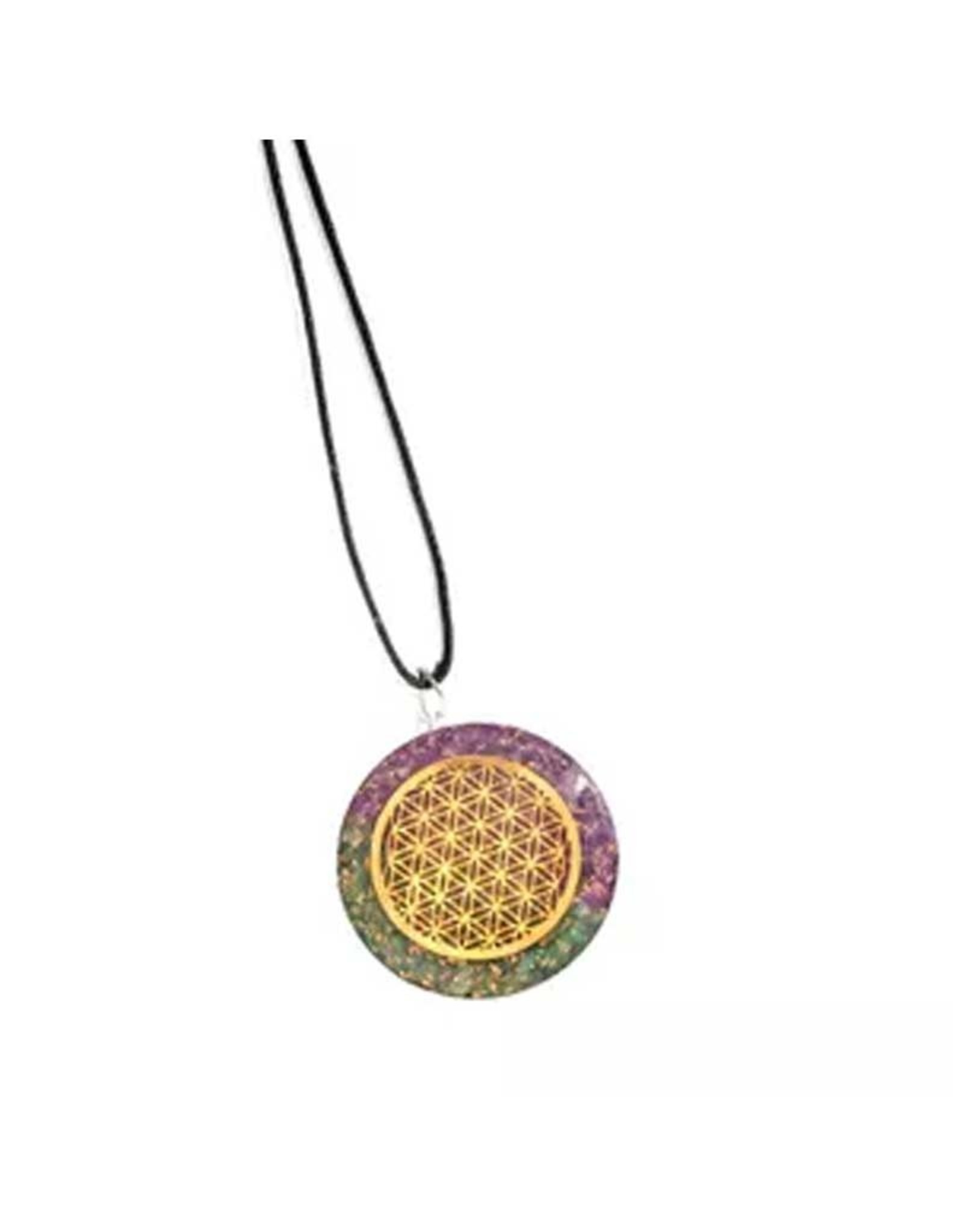 Aventurine & Amethyst Flower of Life Orgonite Necklace