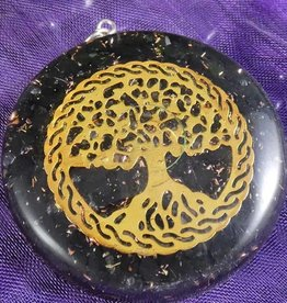 Black Agate Tree of Life Orgonite Necklace