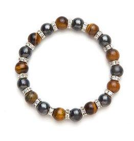 MagneHealth Golden Tiger Eye Magnetic Bracelet w Crystals