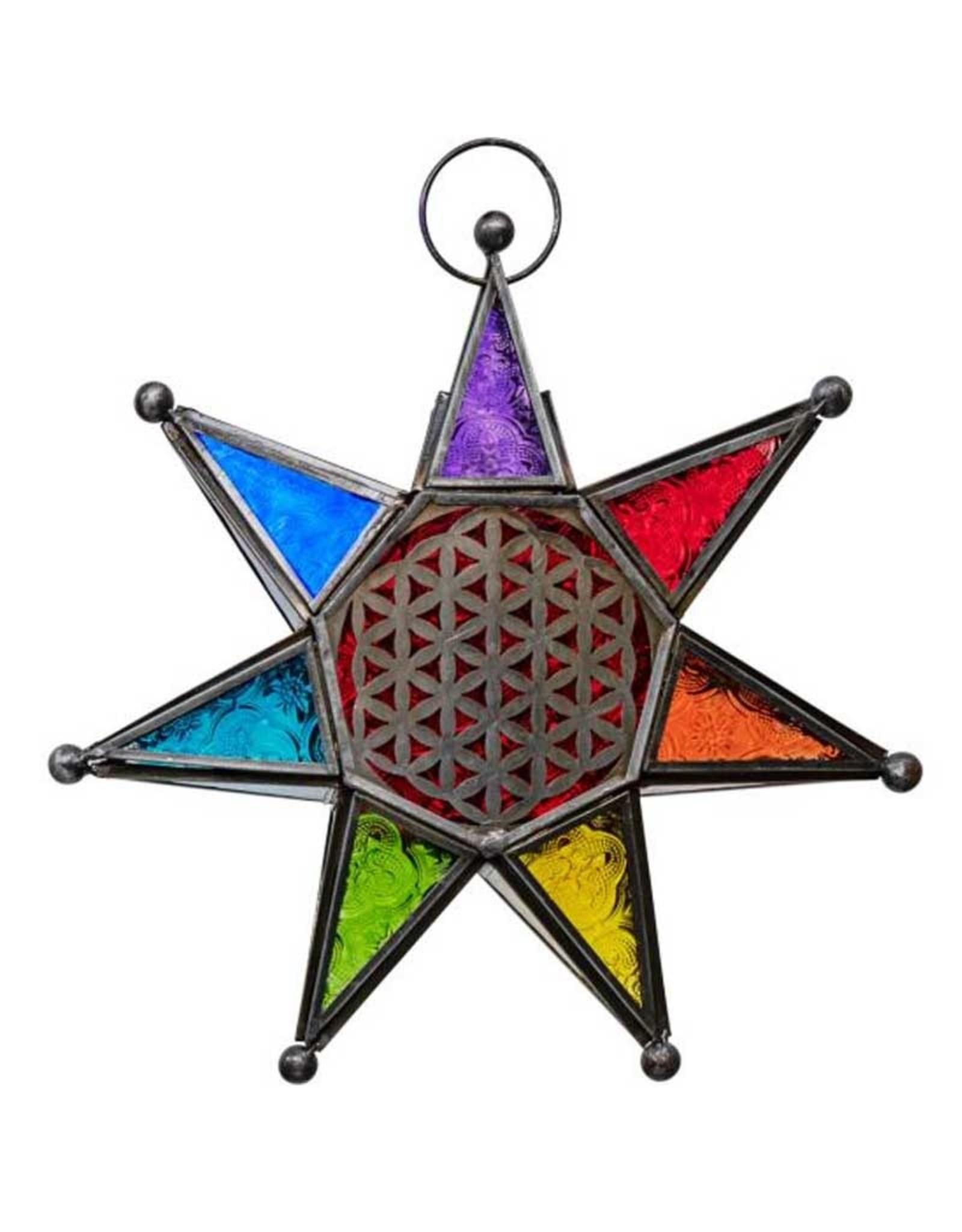7 Chakra Flower of Life Lantern -11″