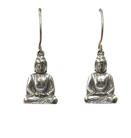 Blueprint Buddha Pewter Earrings