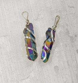 Rainbow Titanium Aura Silver Metal Wrapped Pendant