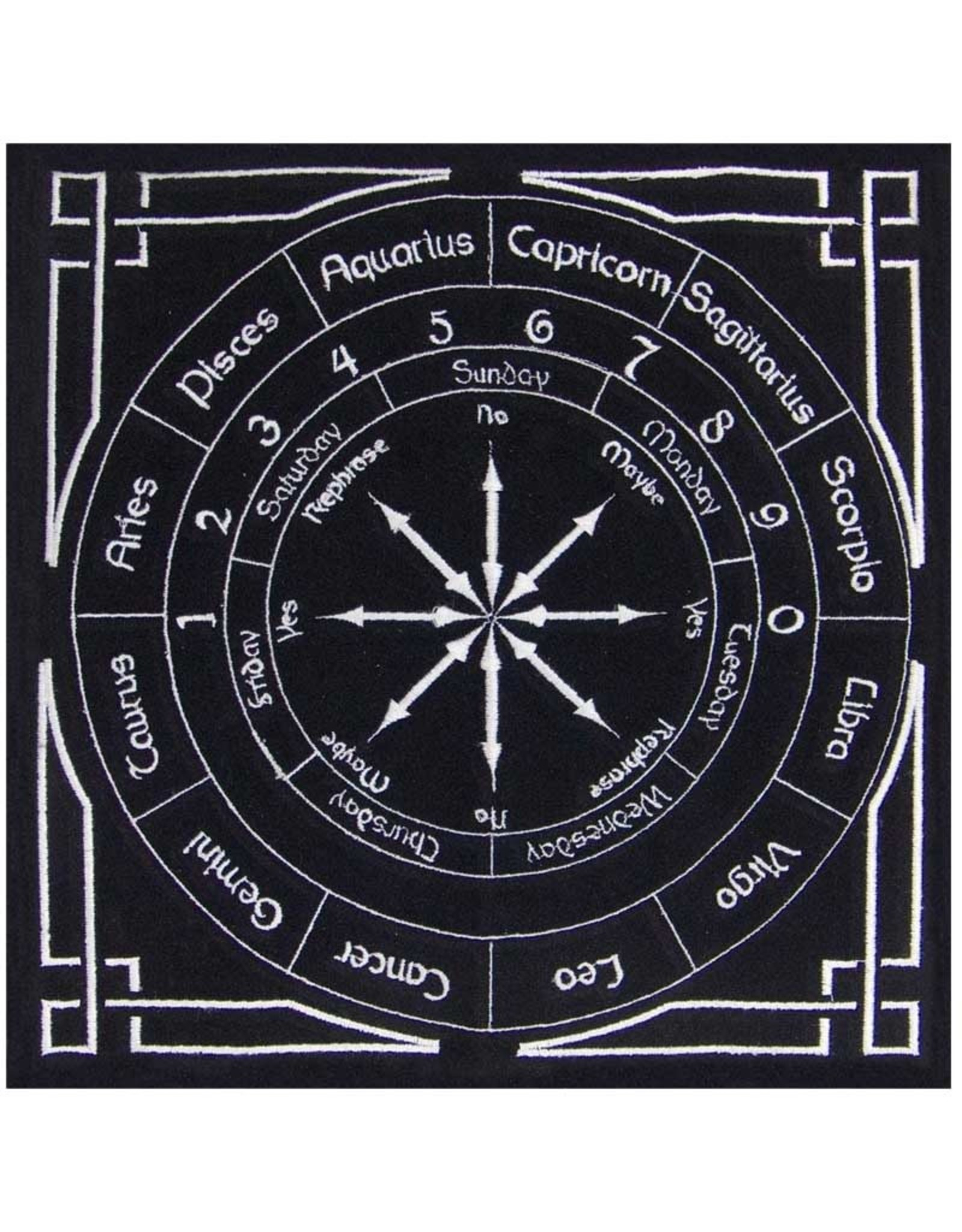 "Astrology Black Pendulum Mat 12"" x 12"""