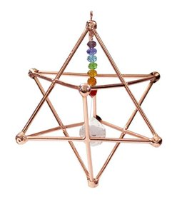 """Copper Merkaba with Prism & Chakra Beads 5.5"""""""