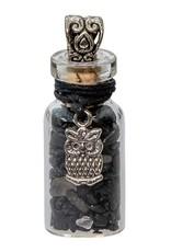 Black Tourmaline Chip Bottle Necklace