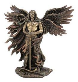 "Wise Unicorn Six-Winged Guardian Angel w Serpent Statue - 11 "" x  5 "" x  10 3/7"""