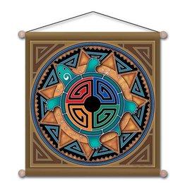 "Mandala Arts Meditation Tortosie Medicine Banner - 15"" x 15"""