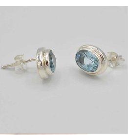 Topaz Oval Sterling Silver Stud Earrings