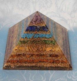"""Chakra Orgonite Pyramid w Copper - 3.5"""" x 3.5"""" x 3"""""""