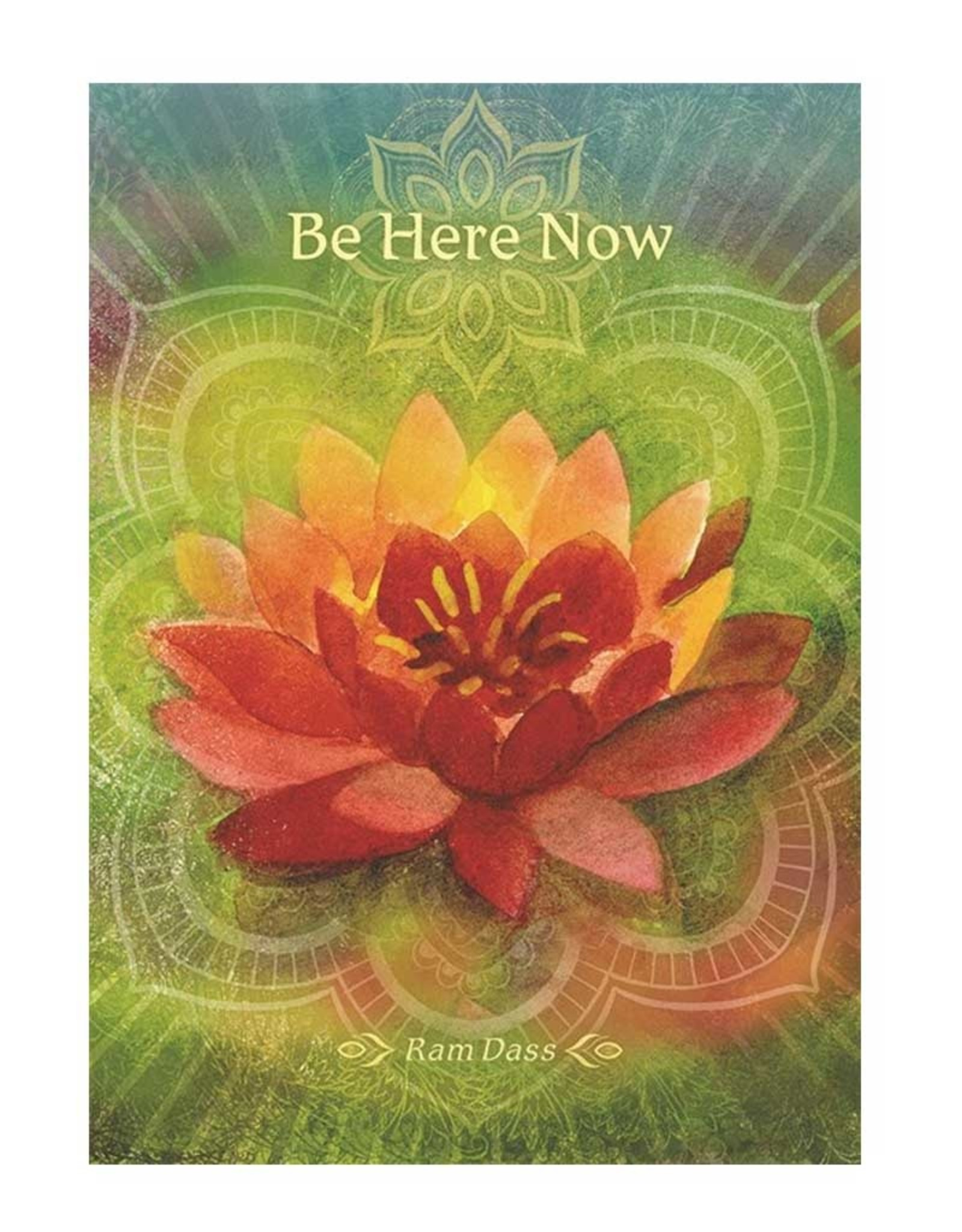 Amber Lotus Be Here Now - Greeting Card