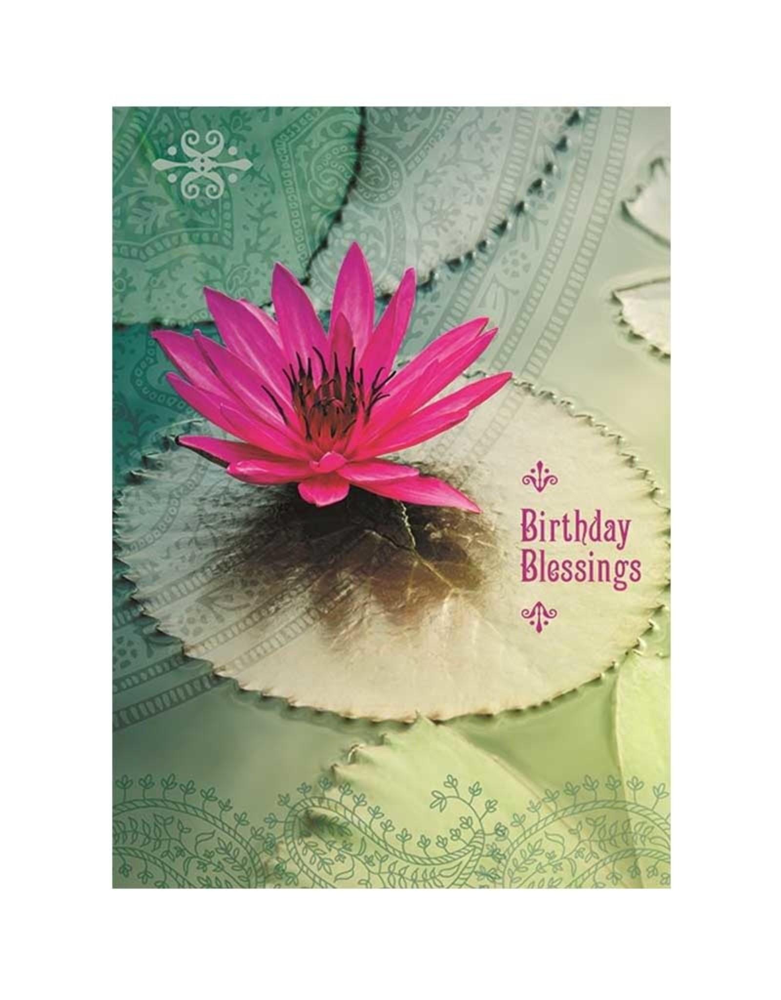 Amber Lotus Birthday Blessings - Greeting Card