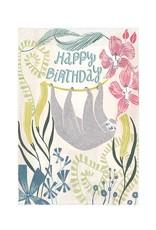 Amber Lotus Birthday Sloth - Greeting Card