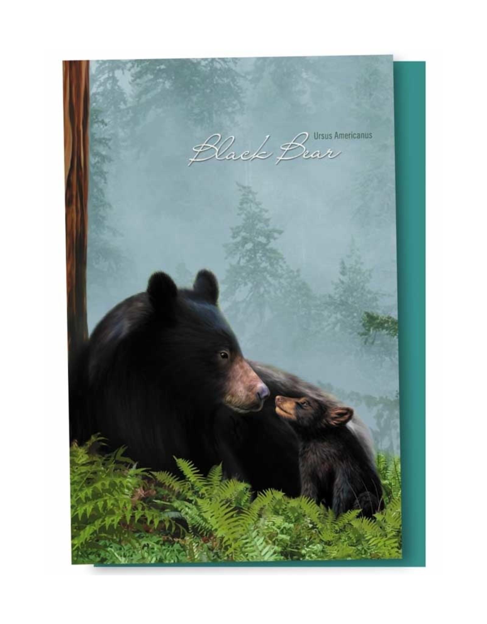 Tree - Free Greetings Black Bear Family  - 12 Notecards