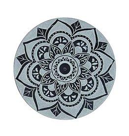 """Soapstone Lotus Mandala Incense Burner - 4"""""""
