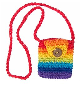 "Rainbow Cotton Crystal Pouch - 2"" x 2.5"""