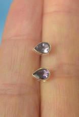 Amethyst Tear Drop Sterling Silver Stud Earrings