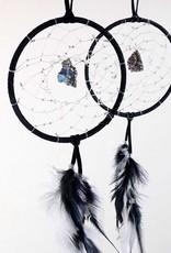 "Monague Native Crafts Black 4"" Dream Catcher w Druzy"
