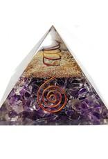 """Amethyst Orgonite Pyramid w Copper - 3.25"""" x 3.25""""x3"""""""