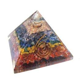 "Chakra Layered Orgonite Pyramid - 2.5"" x 2.5""x 2"""