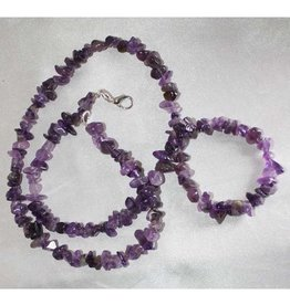 """Amethyst 18"""" Chip Necklace w Clasp"""