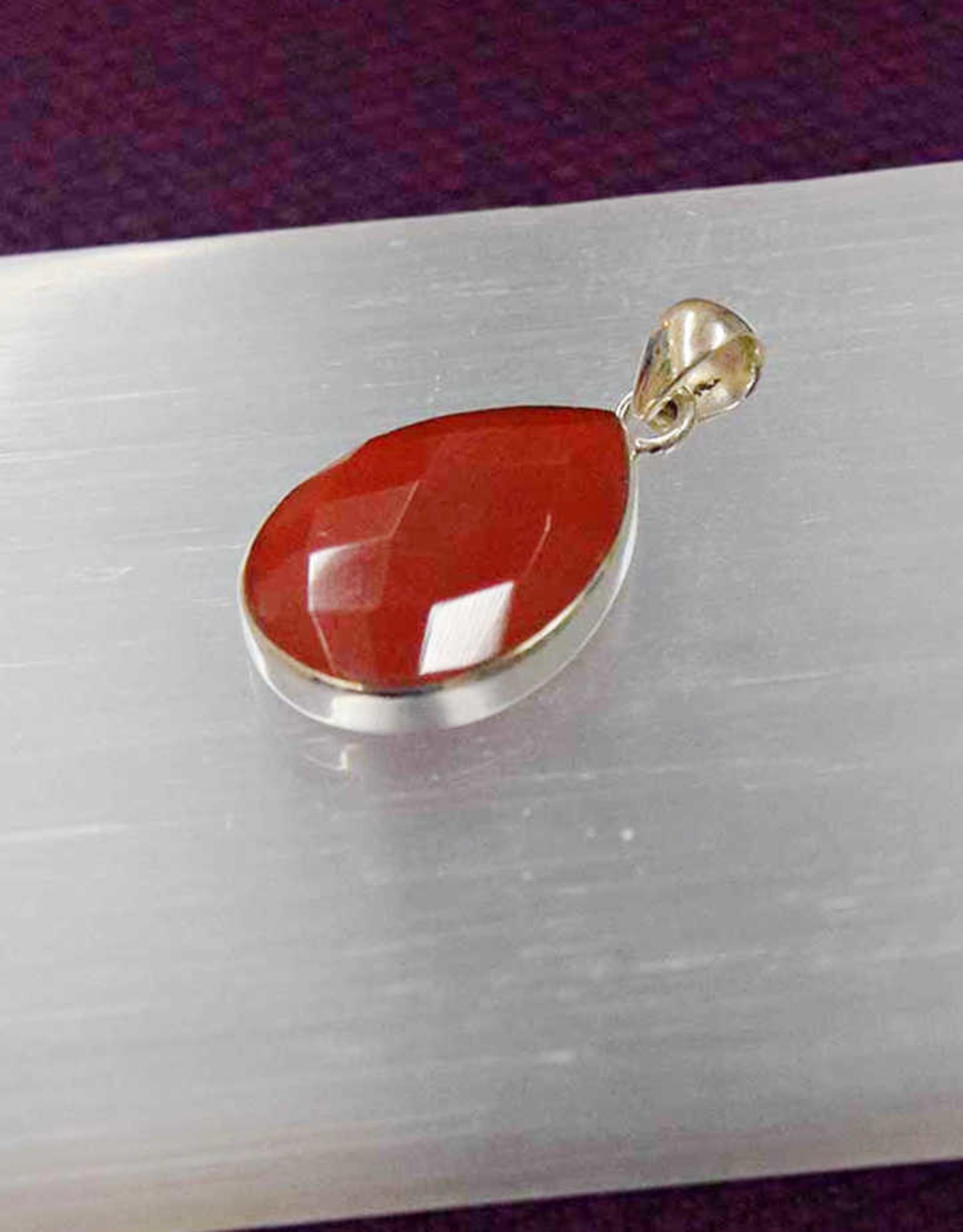 Carnelian D Sterling Silver Pendant