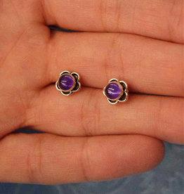 Amethyst Flower Sterling Silver Stud Earrings