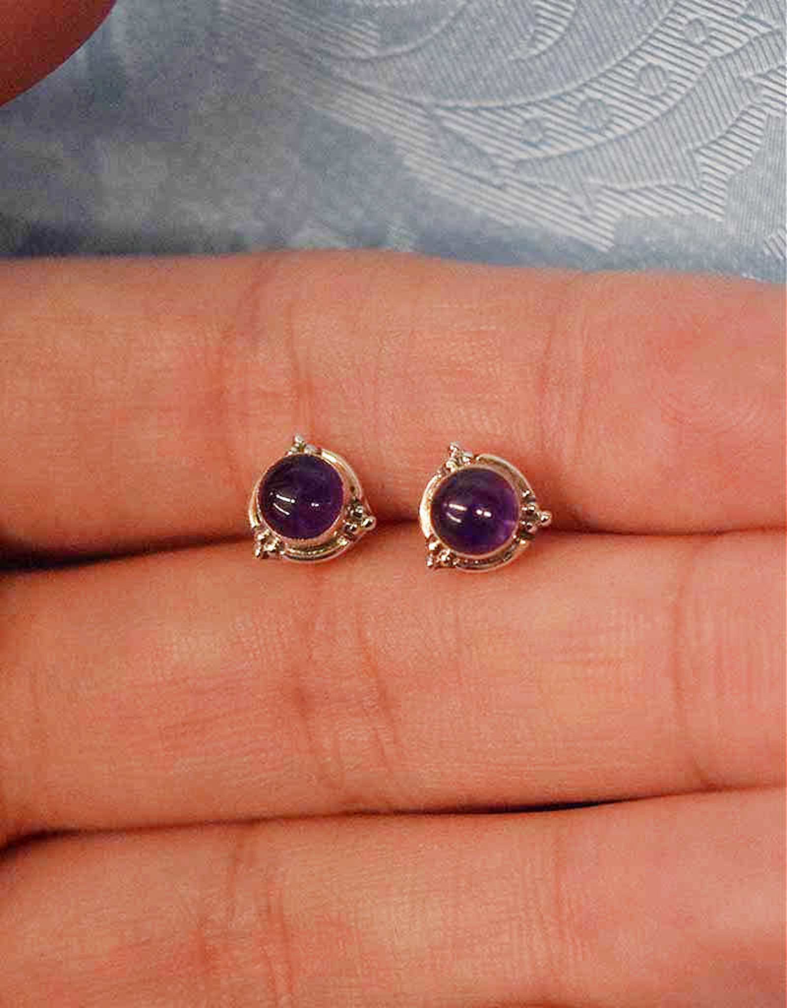 Amethyst Round B Sterling Silver Stud Earrings
