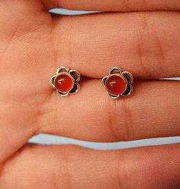 Carnelian Flower Sterling Silver Stud Earrings