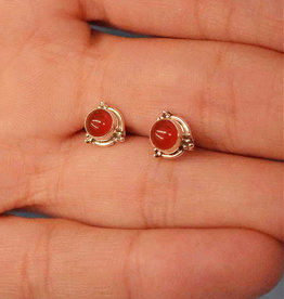 Carnelian Round B Sterling Silver Stud Earrings