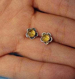Citrine Flower Sterling Silver Stud Earrings