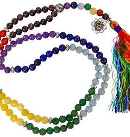 "Chakra & Lotus Mala w Coloured Tassle - 36"""