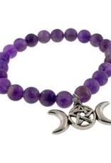 Amethyst Triple Moon 8MM Bracelet