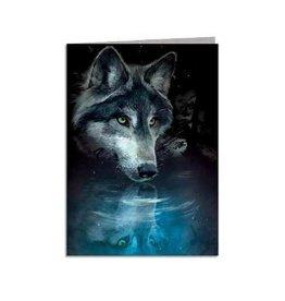 Tree - Free Greetings Wolf Reflection- Greeting Card
