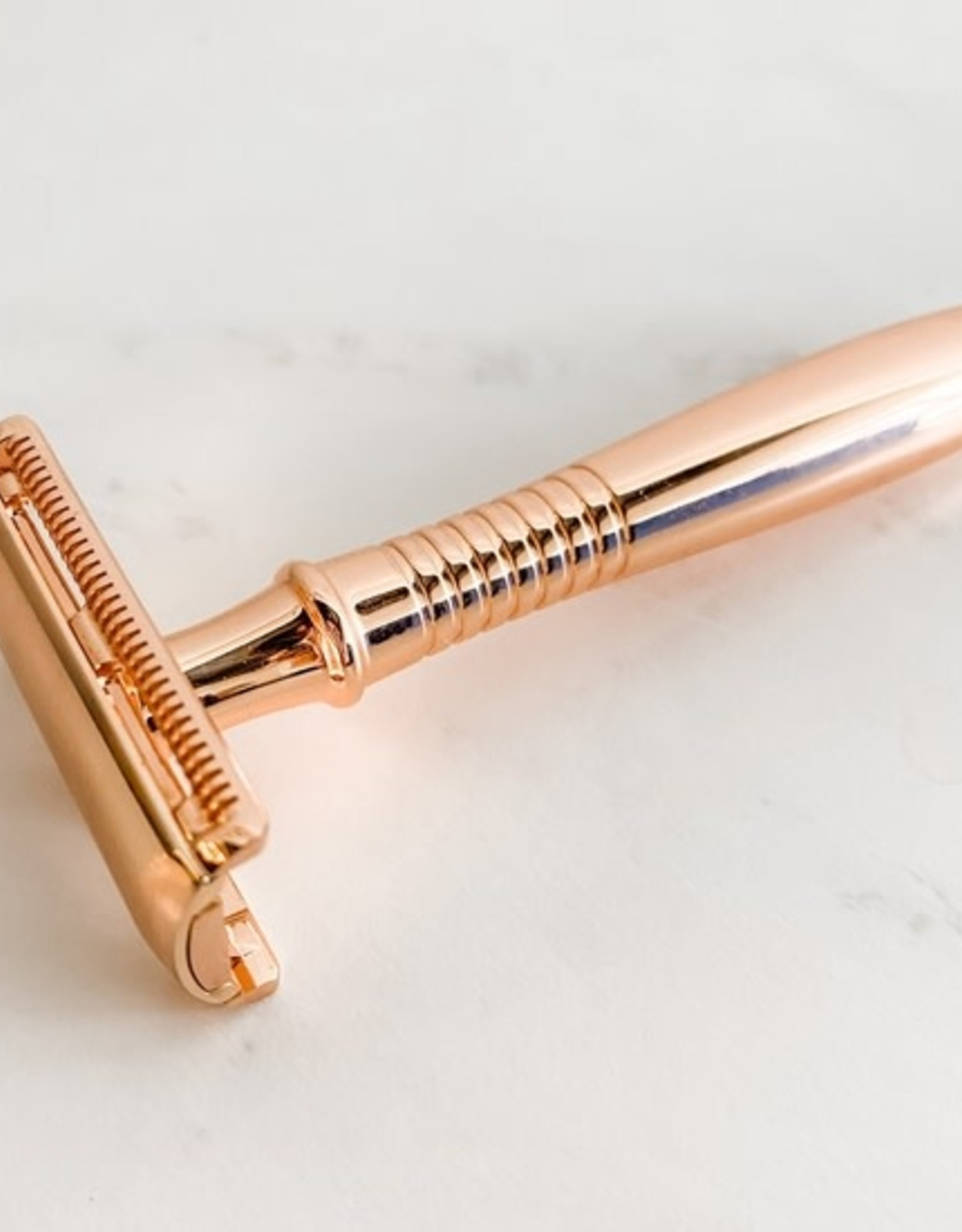 Rose Gold Safety Razor with Stand