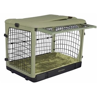 Pet Gear Deluxe Steel Dog Crate with Bolster Pad  - Large/Sage