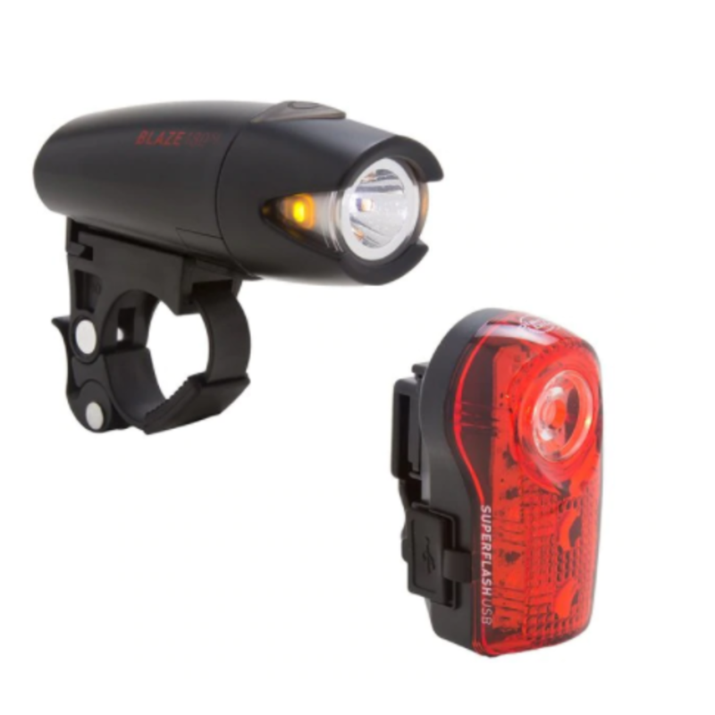 Planet Bike Planet Bike Blaze 210 SL USB Rechargeable Headlight and Superflash USB Rechargeable Taillight Set