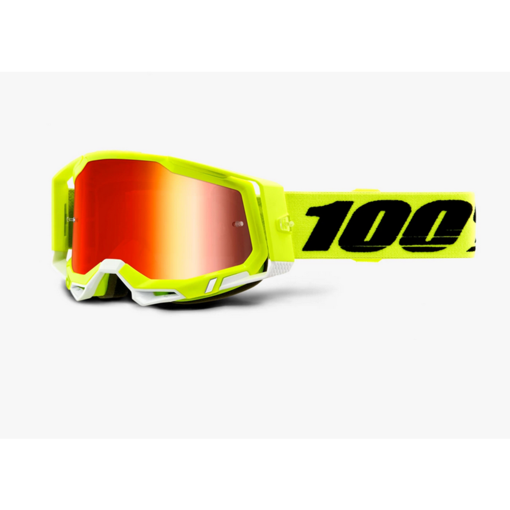 100% 100% RACECRAFT 2 Goggle Fluo Yellow - Mirror Red lens