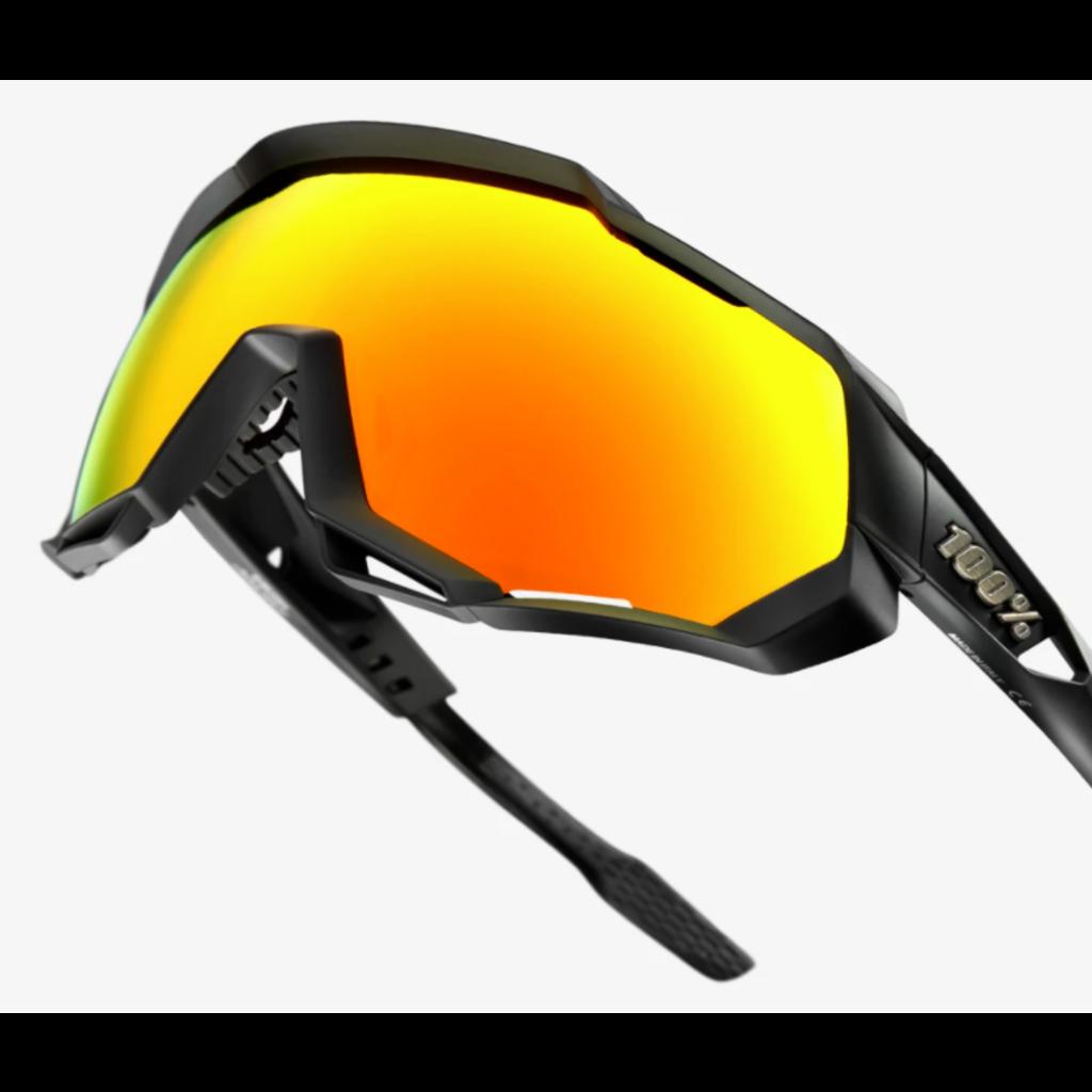 100% 100% -Speedtrap - Soft Tact Black - HiPER Red Multilayer Mirror Lens