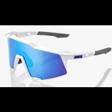 100% 100% Speedcraft - Matte White - HiPER Blue Multilayer Mirror Lens