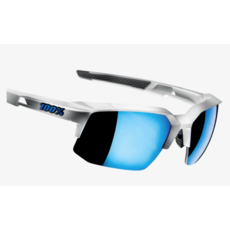 100% 100% Speedcoupe - Matte White - HiPER Blue Multilayer Mirror Lens