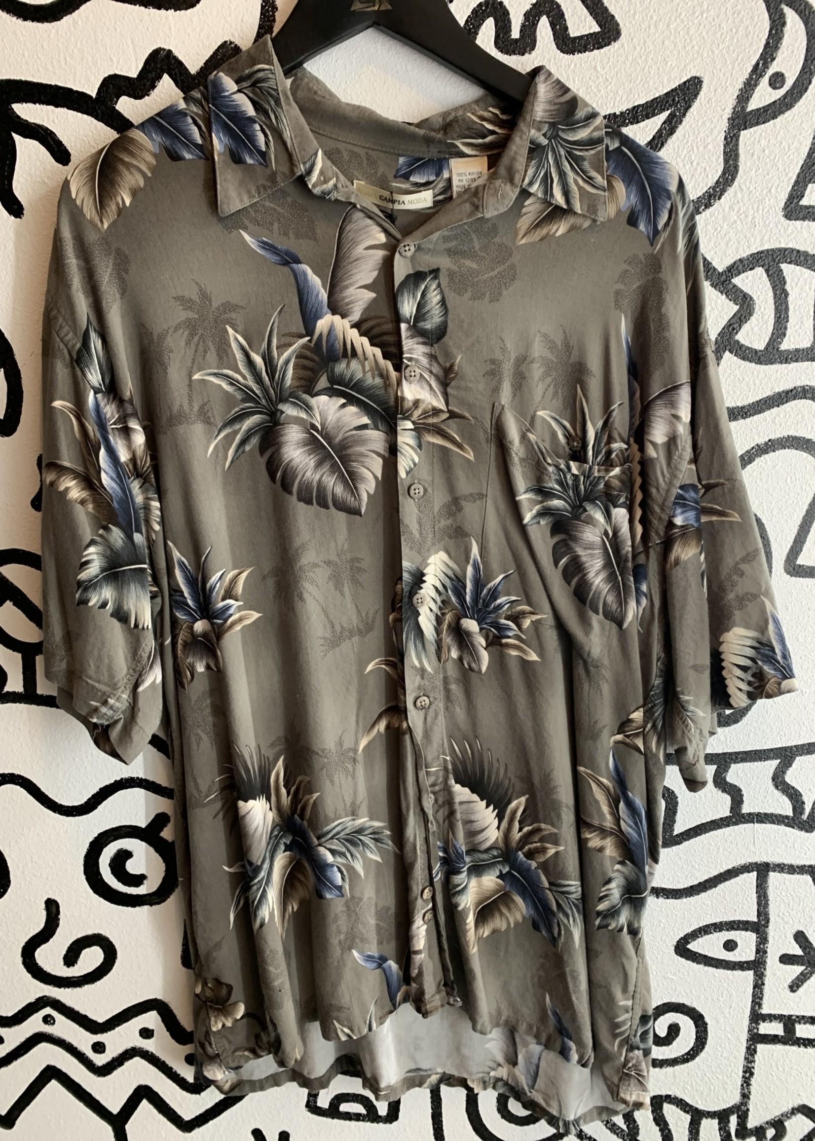 Moda Campia Moda Grey Plant Print Shirt XL
